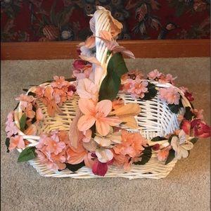 Beautiful White & Pink Floral Basket